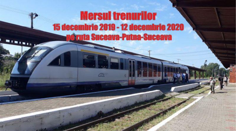 Noul Mers al Trenurilor pe ruta SUCEAVA-PUTNA-SUCEAVA, începând cu 15 decembrie 2019